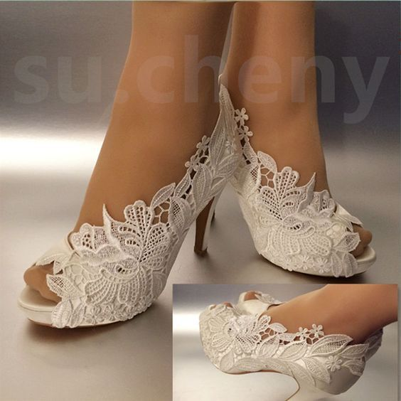 "68986a805bc1 Details about su.cheny 3"" 4"" heel white ivory silk lace peep toe crystal Wedding  Bridal shoes"