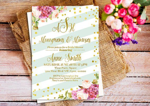 mimosas and monograms wedding shower invitation gold mimosas and monograms bridal shower invitation
