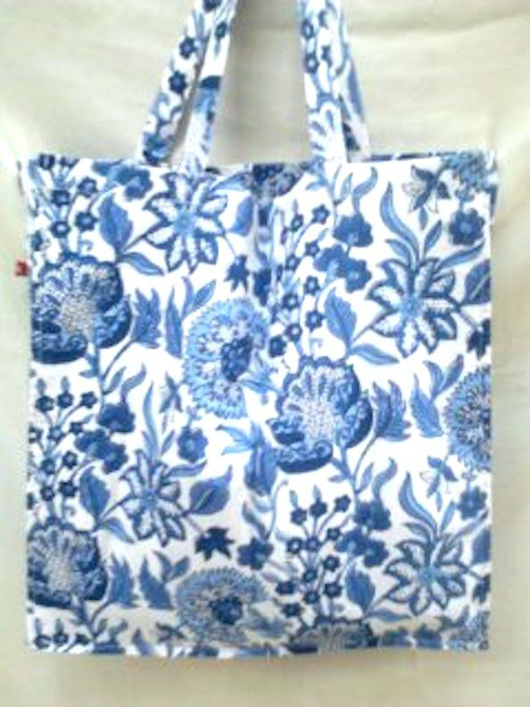66543a28a6 Anokhi Blue & White Chinoiserie Floral Hand block print Indian cotton Tote  bag Shopper by Khadiwallah