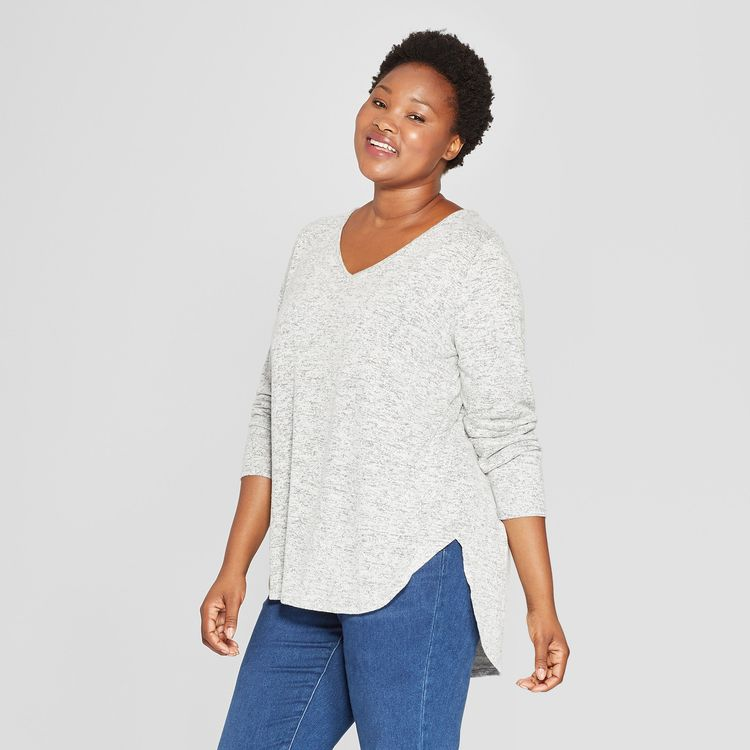 fd9d79d5 Women's Plus Size Cozy Long Sleeve V-Neck Pullover - Ava & Viv Heather Gray  4X