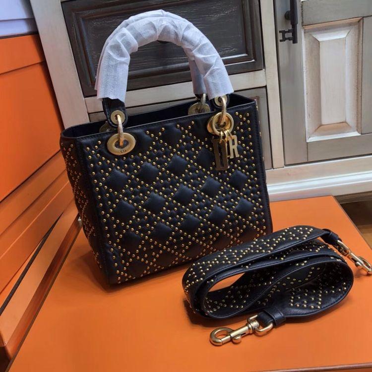 a20e7c6af4 Christian Dior SUPPLE LADY DIOR BAG IN STUDDED BLACK LAMBSKIN