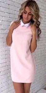 Women New 2018 white collar Stitching Pink gray Straight dress Autumn Fashionrricdress
