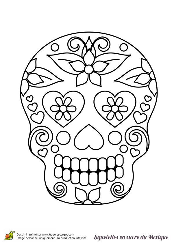 Coloriage Fleur Britto.Coloriage Squelette Sucre Belles Fleurs Sur Hugolescargot