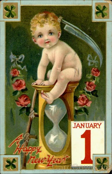 new year card 1912 baby