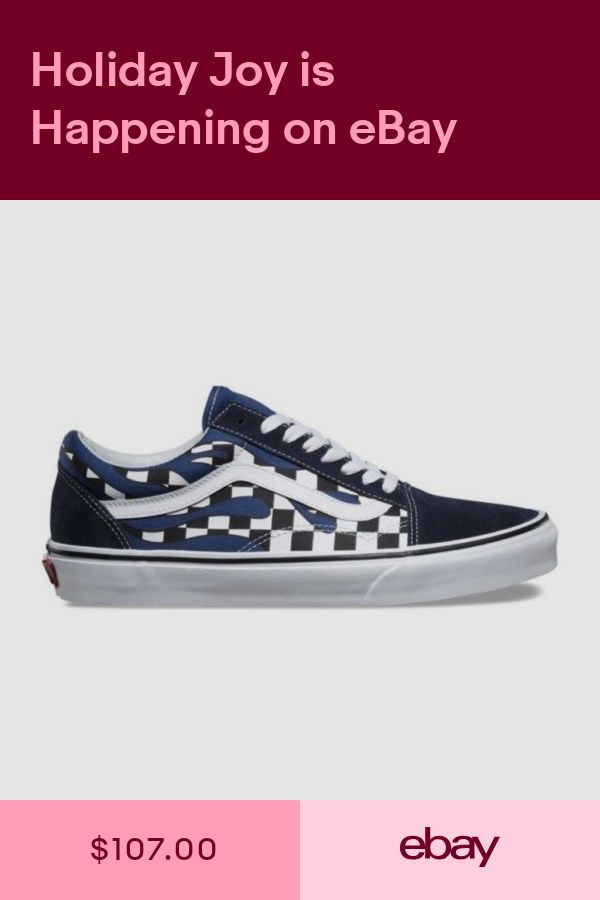 Vans Old Skool Checker Flame Board Navy Blue White Mens and Kids Sz  Checkerboard 442d7906d