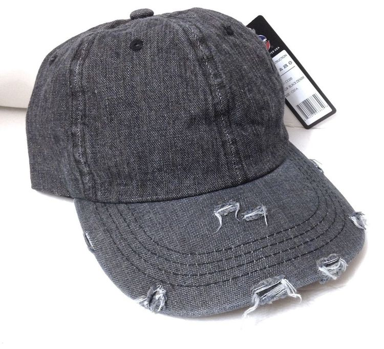 f9d801209e8 new DISTRESSED RIPPED DENIM JEAN HAT dark gray unstructured dad cap men  women