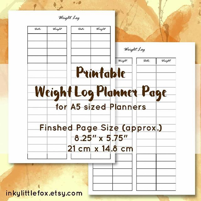 final size of my printable weight log is now available in