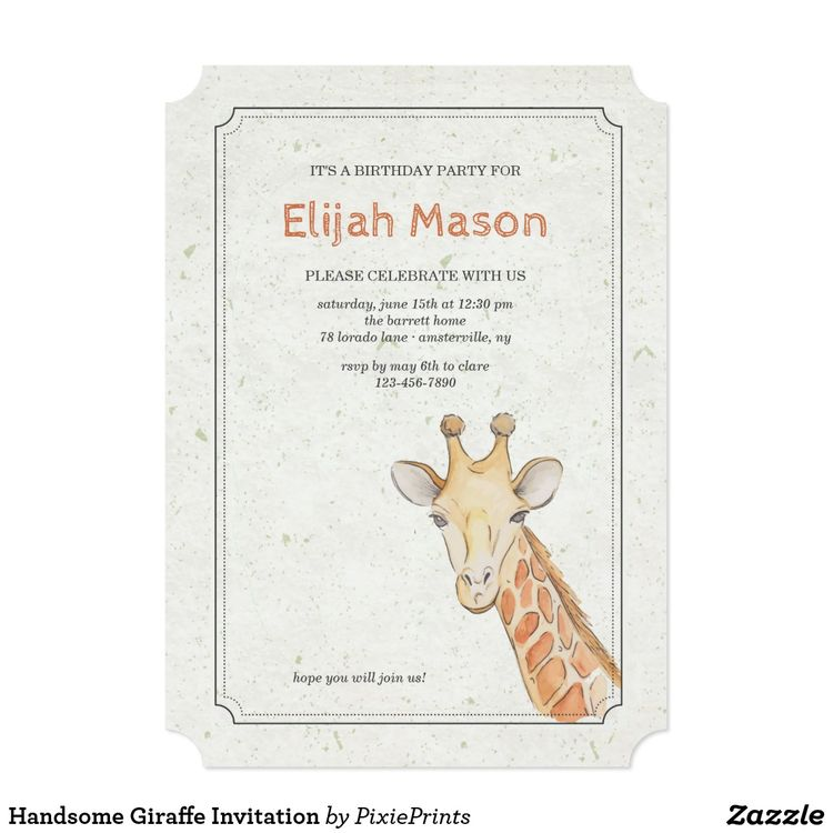 handsome giraffe invitation