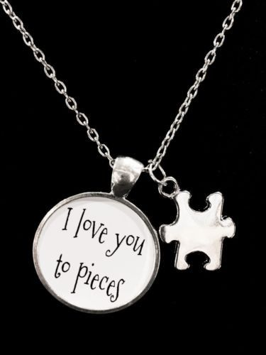 I Love You To Pieces Autism Puzzle Piece Quote Necklace