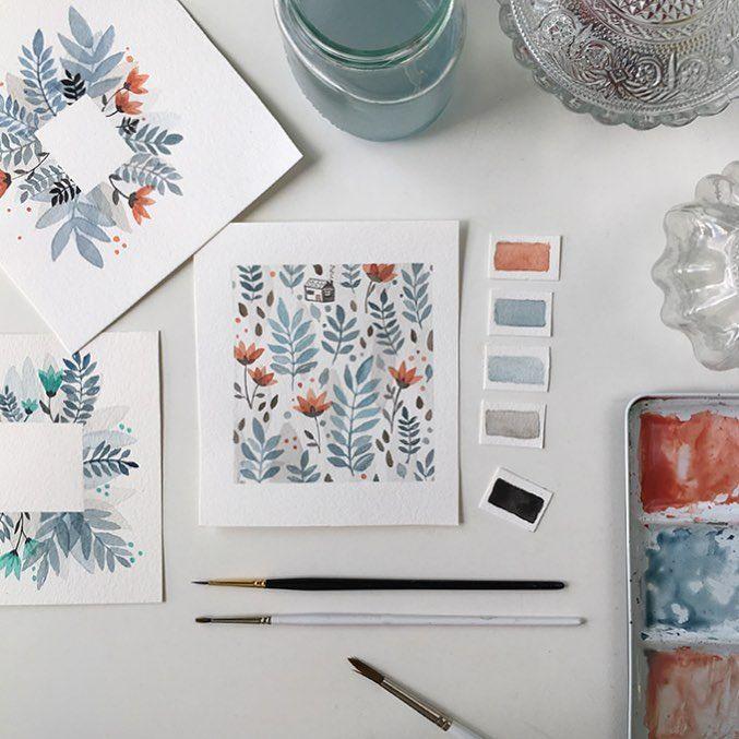 Ajattelin että maalaan tänään joulukortteja mutta tulikin kesäkukkia. 🌿❄️ #watercolors #myart #annamariamakela #watercolorarts