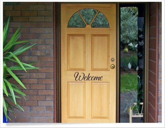 Welcome front door decal, house door greeting, unique door vinyl letters for home, cute welcome stic