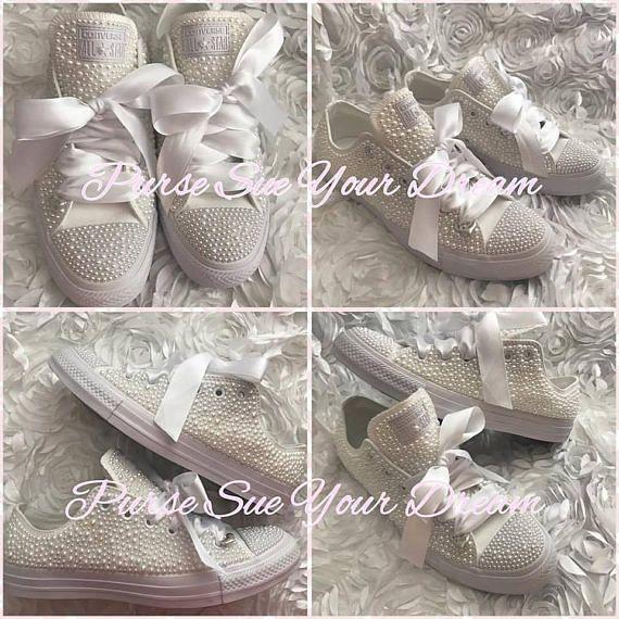 baa00d62a5ff Custom Pearl Converse Wedding Shoes - Custom Wedding Shoes - Pearl Chucks -  Pearl Converse Chucks