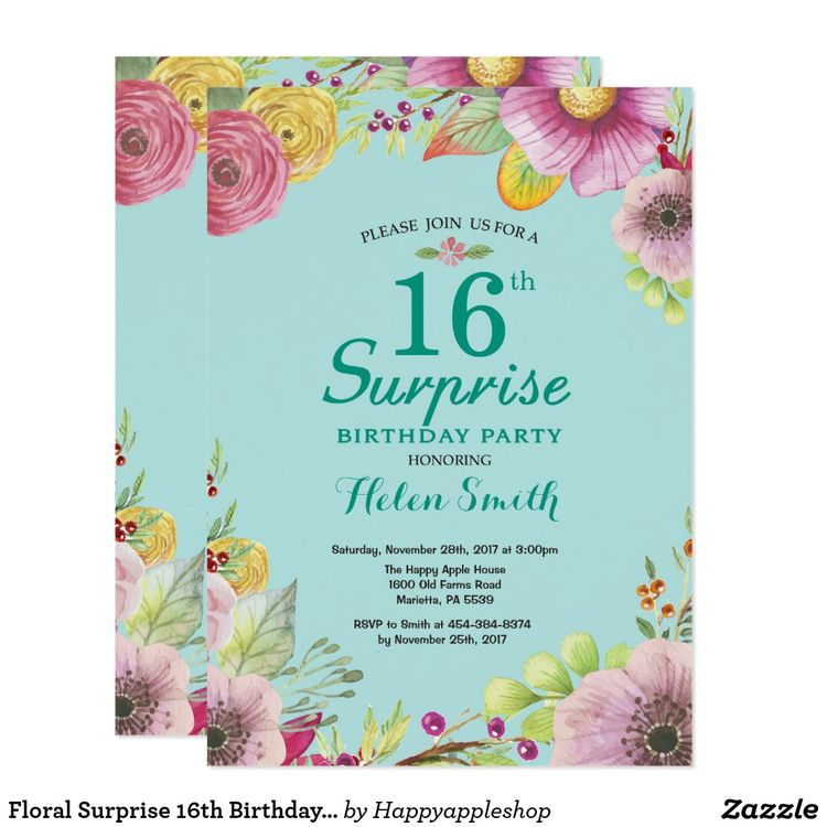Floral Surprise 16th Birthday Invitation Teal