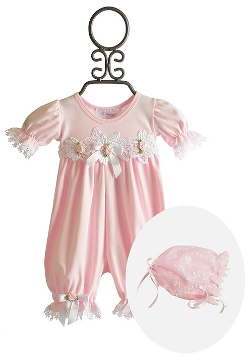 a51986f22387 Katie Rose Pink Leila Lace Baby Romper with Bonnet  86.00