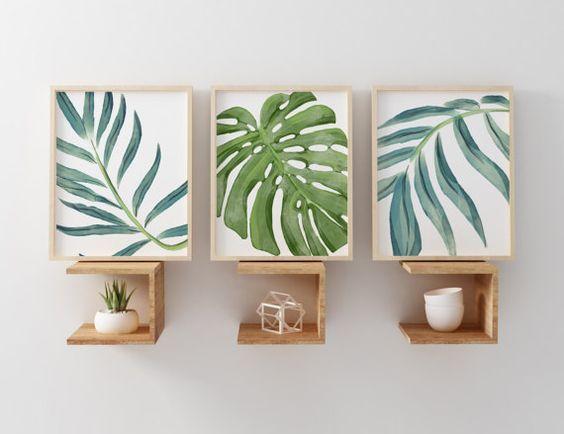 Playa grabados, acuarela playa vivero arte, arte de pared de hojas de palmeras tropicales, conjunto de Palma 3 pared arte, Palm Beach Cottage pared Art Decó