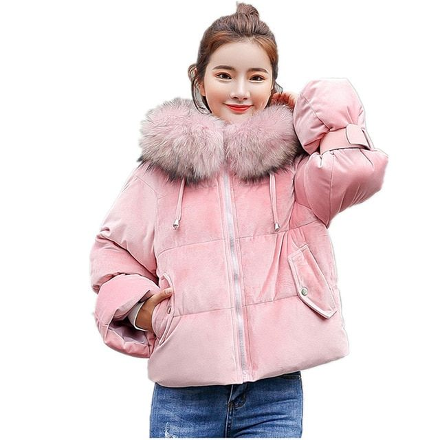 b135cd15d8c67 Warm Hooded Fur Collar Cotton Short Parka Plus Size Women Winter Coat Jacket  2018 Clothing for Mujer Feminine De Inverno Casaco
