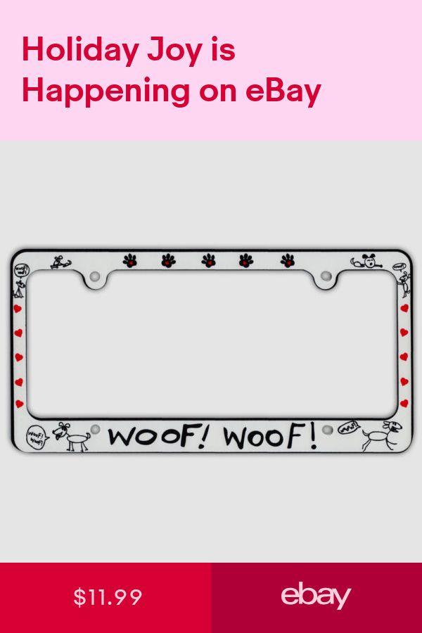 Plastic License Plate Frame Tag Holder - Woof! Woof! - Dog