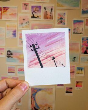 Paintbrush Polaroids 15.6.19 - 3.5x4.25 - Lines • Paper use