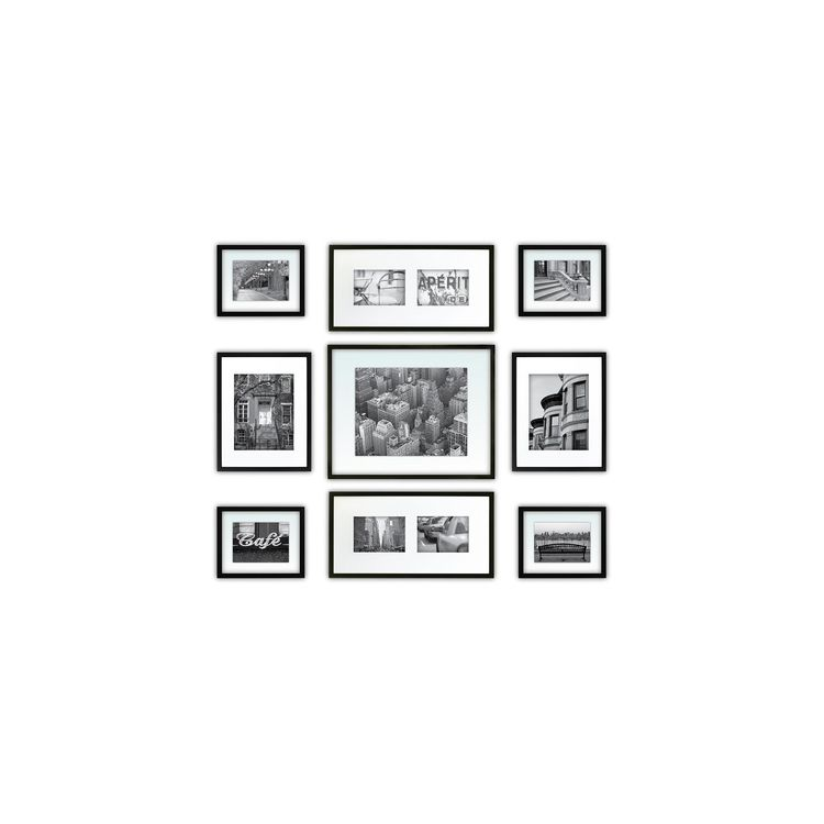 Gallery Perfect 9 Piece Multi Size Wall Frame Set Black