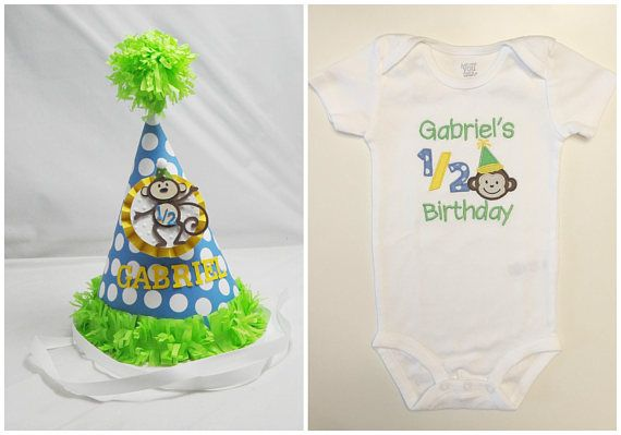 Boy Monkey Half Birthday Shirt Bodysuit Party Hat Set