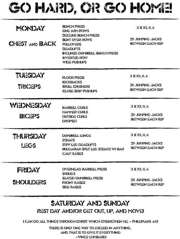 Gym Exercise Schedule For A Week zenfittorg
