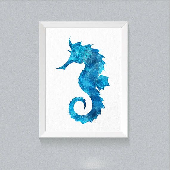Seahorse Print Watercolor Painting Sea Life Wall Art Ocean Print Nautical  Art Blue Seahorse Sea Life Bathroom Decor Housewarming Gift {11}