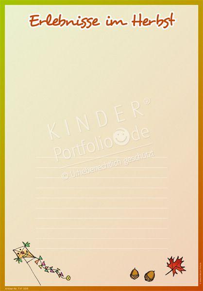 Kindergarten Portfolio Vorlage Erlebnisse Im Herbst