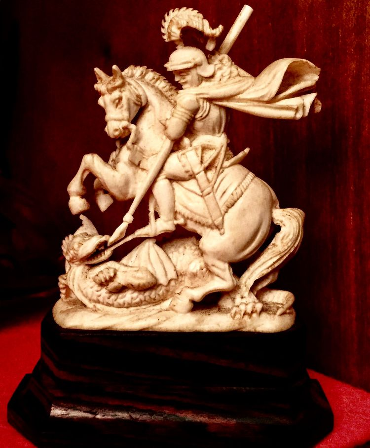Hand Carved Wood Sculpture of SAINT GEORGE Slaying The DRAGON Figurine Statue