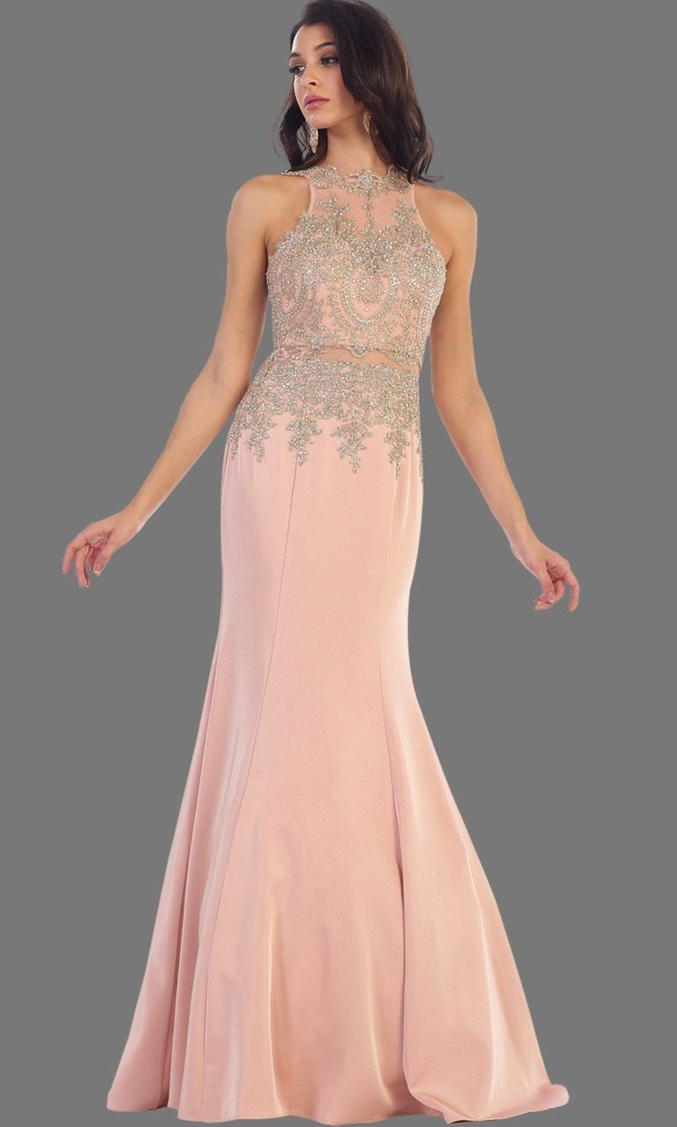 956fcd993ad Long dusty rose mermaid dress with open back. It has beaded