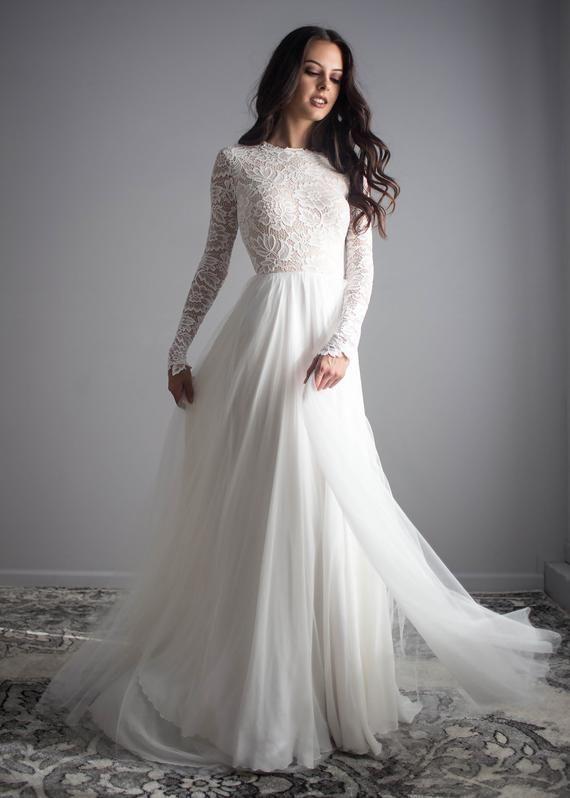 a010413cbda Long Sleeve Wedding Dress Beautiful Lace Long Sleeve Wedding