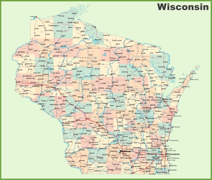 Road map of Wisconsin with cities