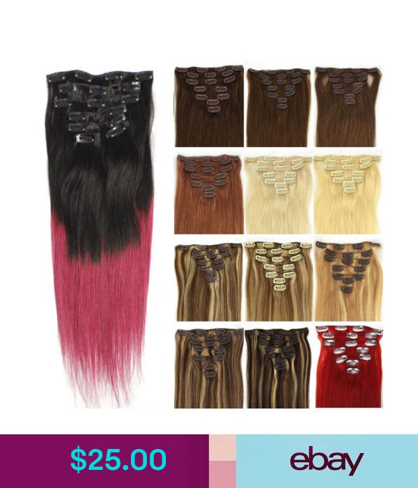 18 7pcs 70g Clip In Real Remy Human Hair Extensions Ombre