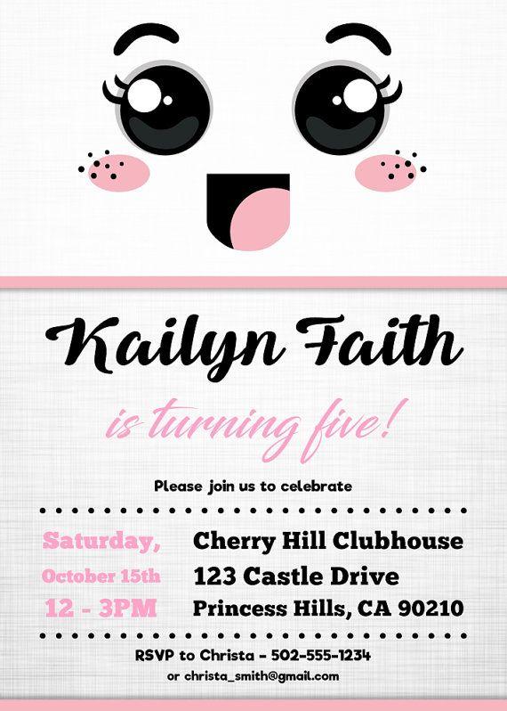 kawaii birthday party invitations cute emoji birthday part