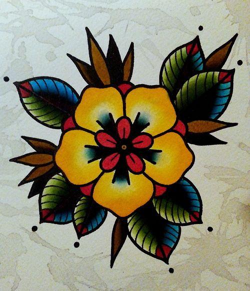 Magnifique Tatouage Old School De Fleur