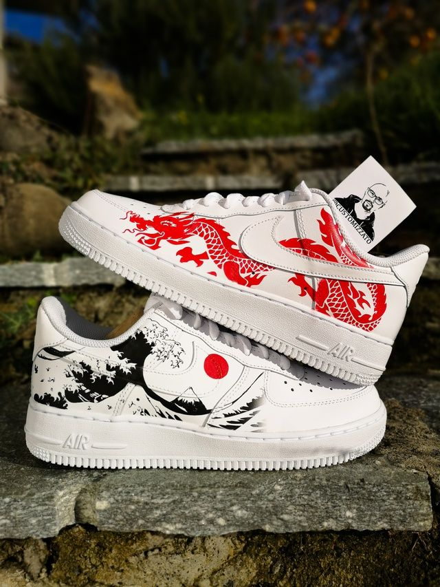 Custom sneakers Nike Air Force 1 'Red dragon х The Great Wave off Kanagawa'