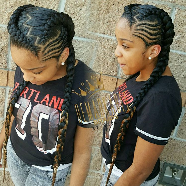 Two Feed In Braids With Small Cornrows On The Sides Fashio