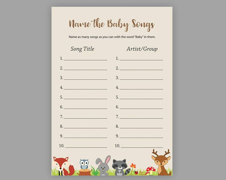 woodland name the baby songs baby shower games name that baby