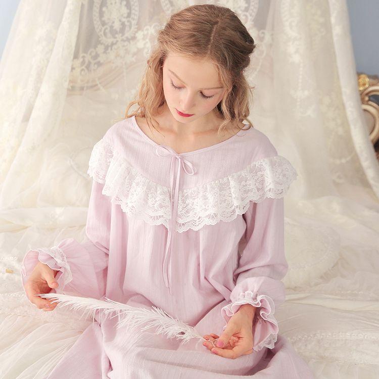 c050731838 Cotton Nightdress Ladies Sweet Casual Sleep Dress Comfortable