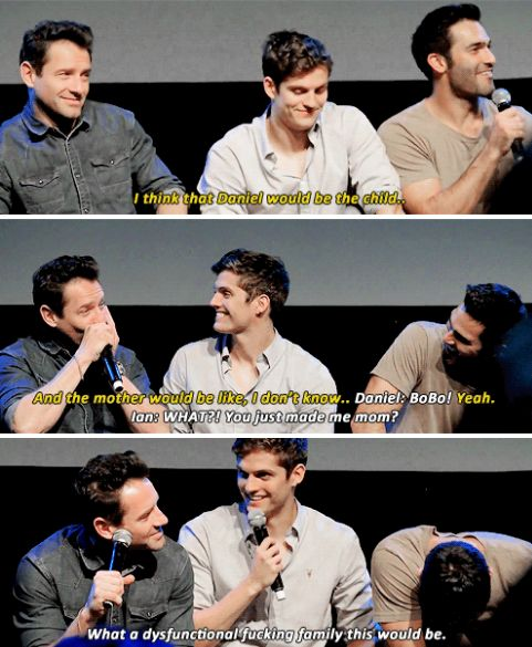 Tyler, Ian and Daniel answering the question, if they were a family, who would be the mother, father and child at Werewolf Con in Brussels