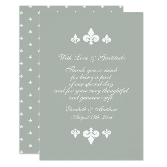 Fleur De Lis Pattern Wedding Thank You Flat Cards