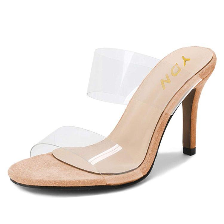 ccff6ef0587 YDN Women Open Toe High Heels Mules Slip on Pumps Slide Tra