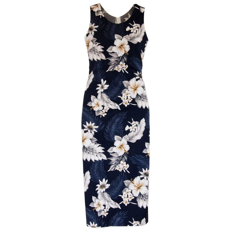 49d8c81fa4e Blueberry Navy Long Hawaiian Tank Dress