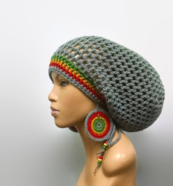 MADE TO ORDER Large Light Grey Crochet Slouch hat Dreadlock hat with Rasta  Stripes and drawstring  free crochet earrings Red Gold Green 8cc514a5df60