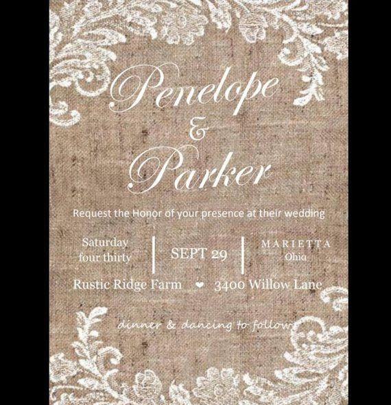 Burlap And Lace Themed Wedding Invitation Digital Printed Summer Fall Rustic C