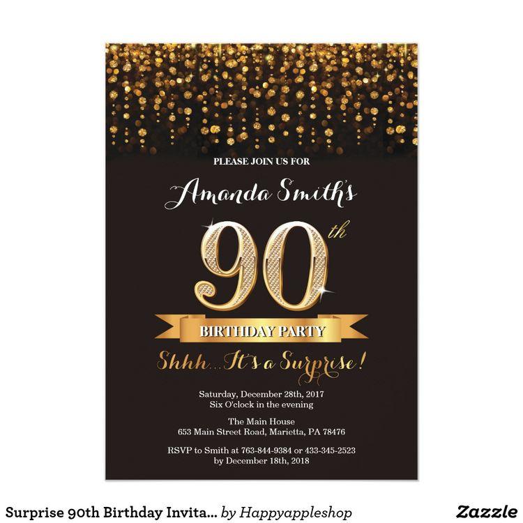 Surprise 90th Birthday Invitation Black And Gold