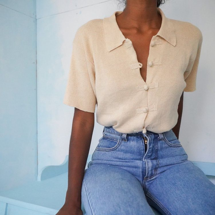 "Masha & Jlynn on Instagram: ""SOLD Vintage 90s linen blend knit collared top for a size S-M.  Price - $56 +$6 US shipping  Please DM to buy!"""