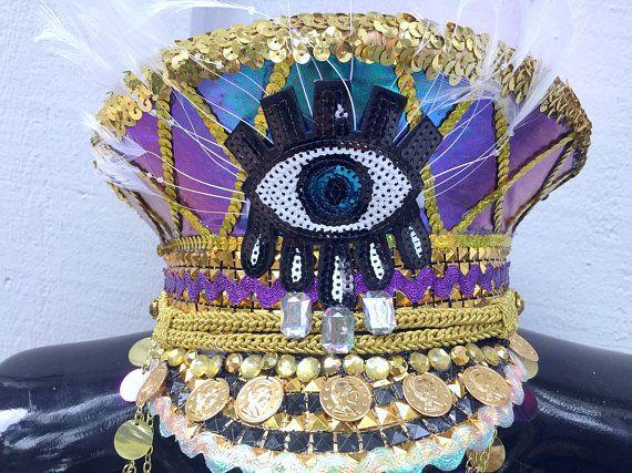 3e163c7b6601d Gold Third Eye Gypsy Captain s Hat  festival hat
