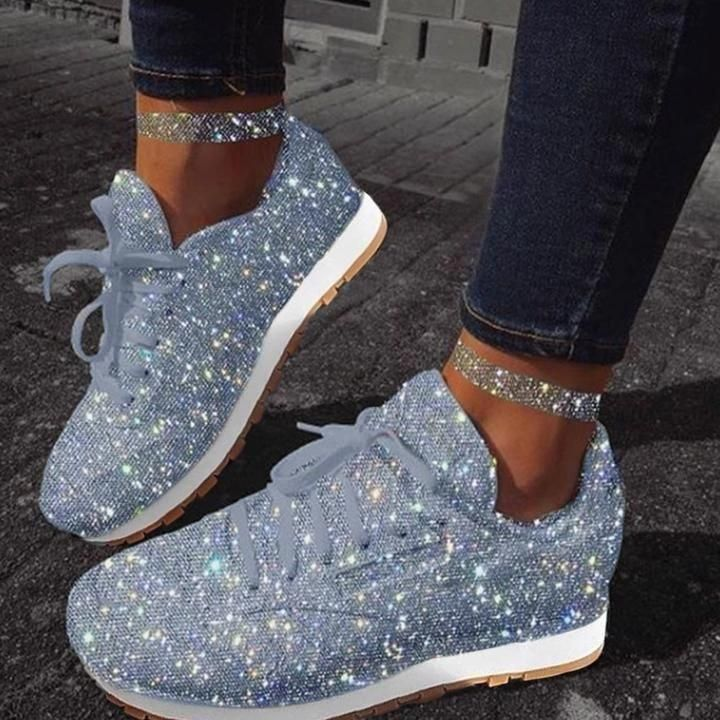 Women Sparkle White Sneakers Shoes – jullymart