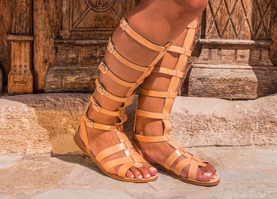 0d0bb76275f42 Leather sandal boots Women gladiator sandals Greek sandals