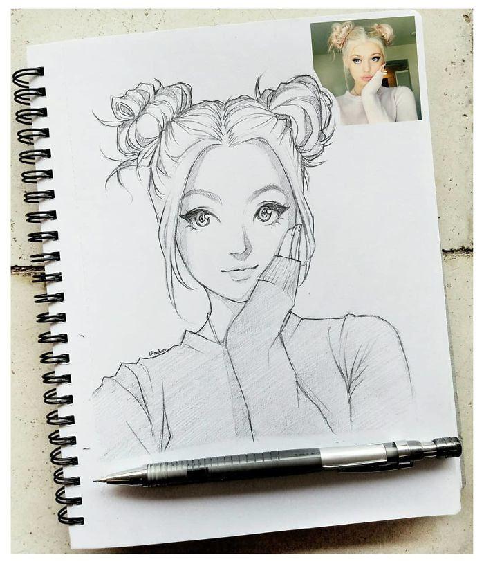 Este ilustrador desenha pessoas como personagem de anime e o resultado é impressionante
